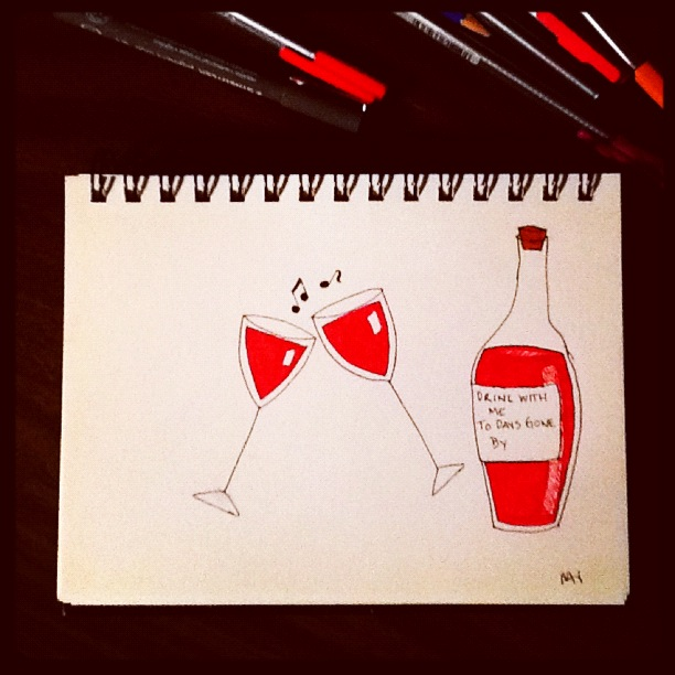 Drawing of wine bottle and glasses