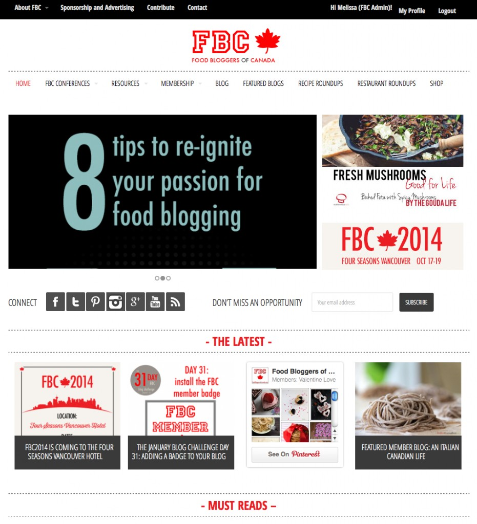 Food Bloggers of Canada Redesign
